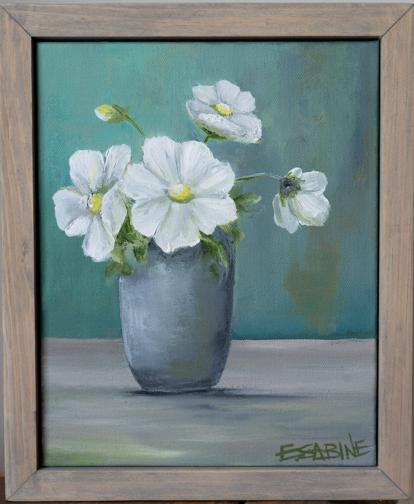 White Daisys in vase 8 x10
